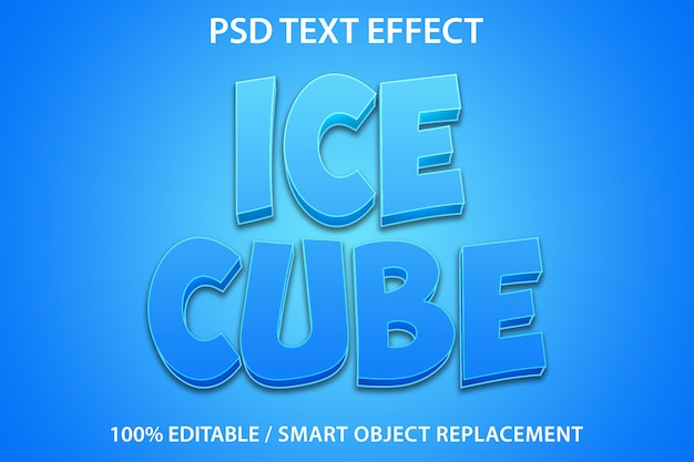 Efeito de texto editável cubo de gelo