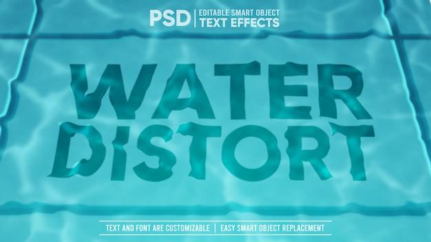 Efeito de texto editável da água da piscina distorcida