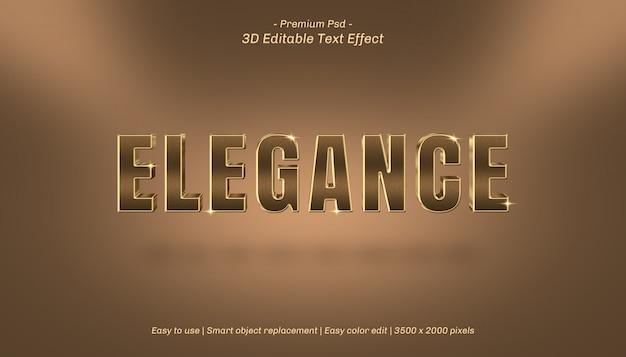 Efeito de texto editável da elegância 3d