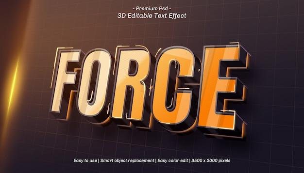 Efeito de texto editável da força 3d