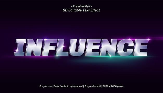 Efeito de texto editável da influência 3d