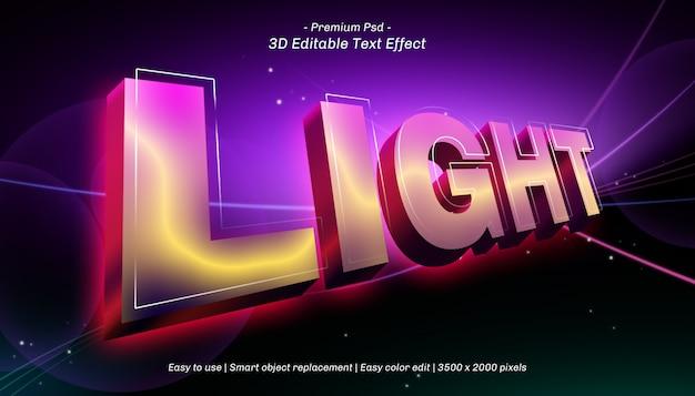 Efeito de texto editável da luz 3d