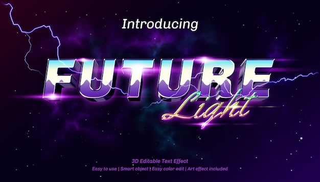 Efeito de texto editável da luz do futuro 3d