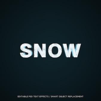 Efeito de texto editável da neve 3d