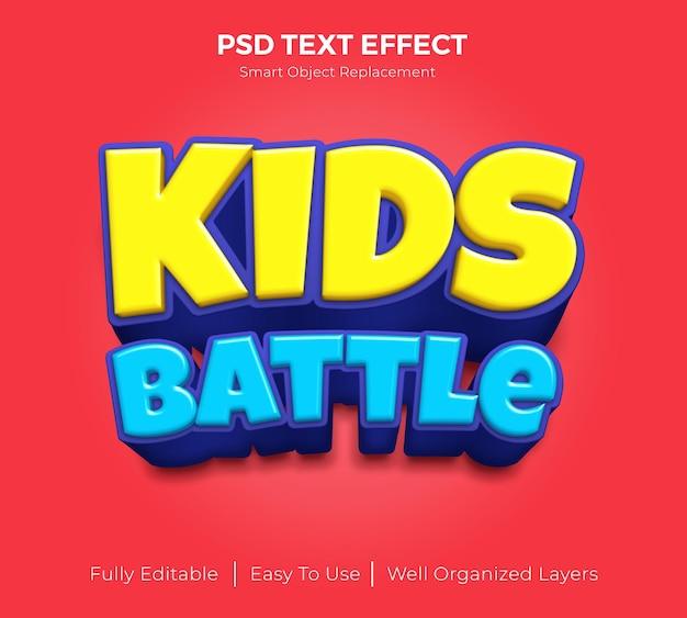 Efeito de texto editável de batalha infantil