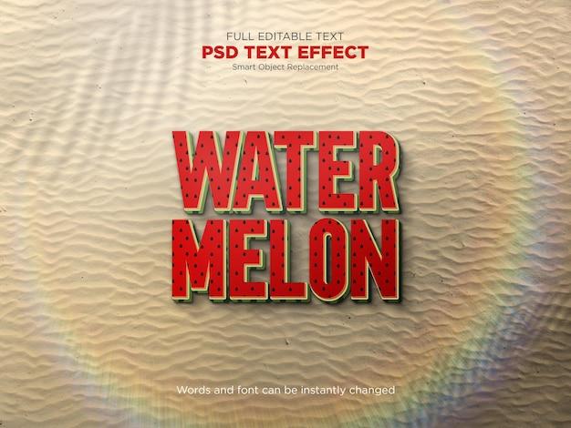 Efeito de texto editável de melancia