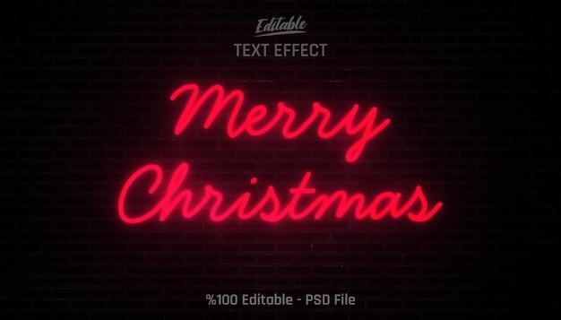 Efeito de texto editável de neon merry christmas em paredes de tijolo preto