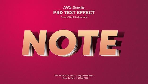 Efeito de texto editável de nota de papel