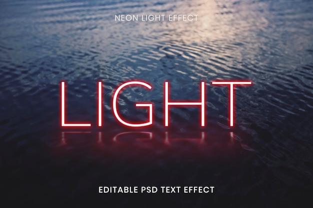 Efeito de texto editável de palavra neon vermelho claro