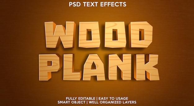 Efeito de texto editável de prancha de madeira moderno