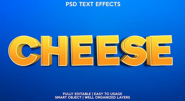 Efeito de texto editável de queijo moderno