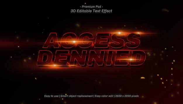 Efeito de texto editável dennied de acesso 3d