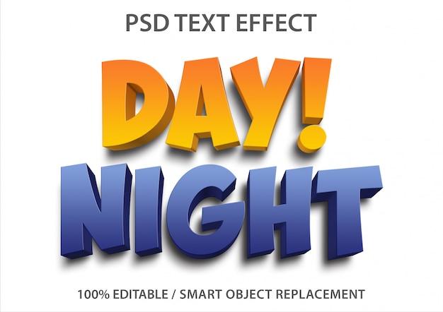 Efeito de texto editável dia e noite