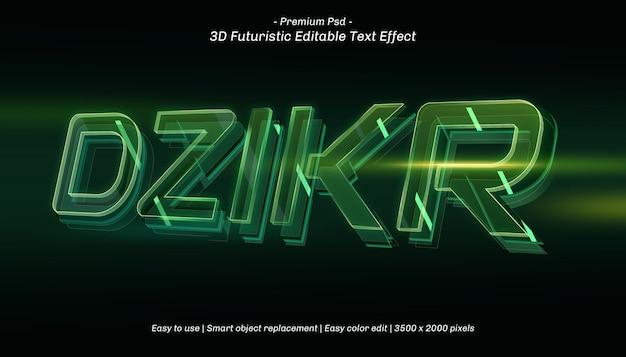 Efeito de texto editável do 3d dzikr