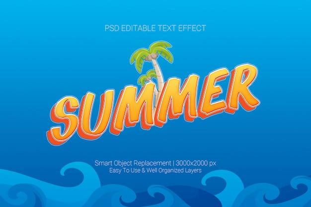 Efeito de texto editável do conceito de verão no esquema de cores azul laranja