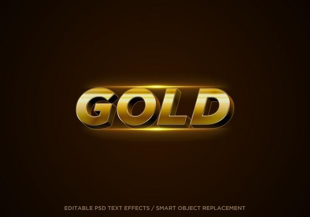 Efeito de texto editável do estilo 3d em ouro