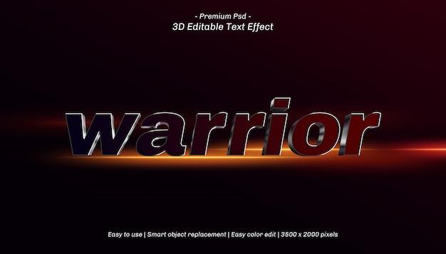 Efeito de texto editável do guerreiro 3d