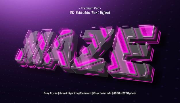 Efeito de texto editável do labirinto 3d