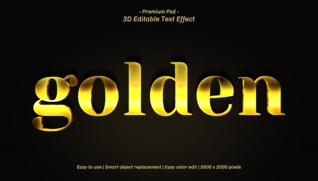 Efeito de texto editável dourado 3d