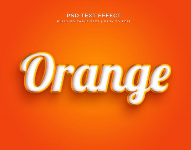 Efeito de texto editável elegante de cor laranja 3d