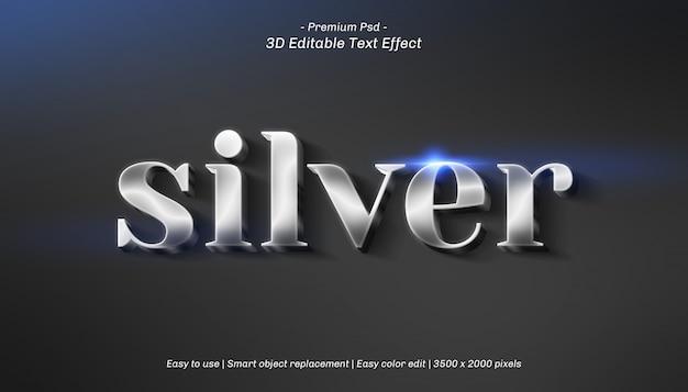 Efeito de texto editável em prata 3d