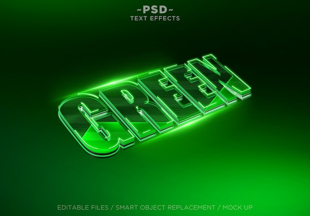 Efeito de texto editável em verde 3d