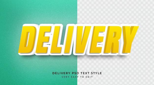 Efeito de texto editável, entrega amarelo 3d texto estilo maquete psd