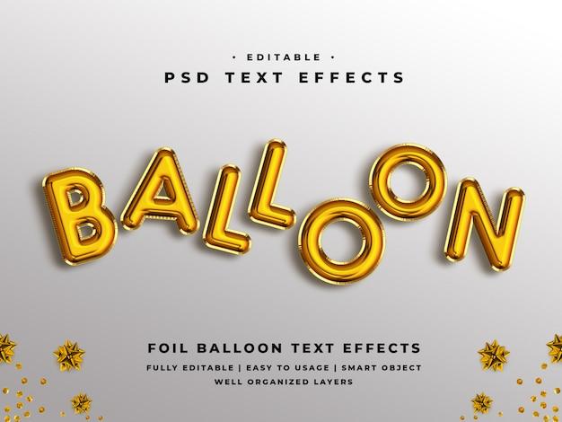 Efeito de texto editável estilo balão 3d