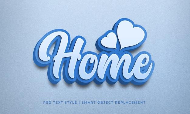 Efeito de texto editável estilo psd com maquete de caligrafia de cor azul em casa
