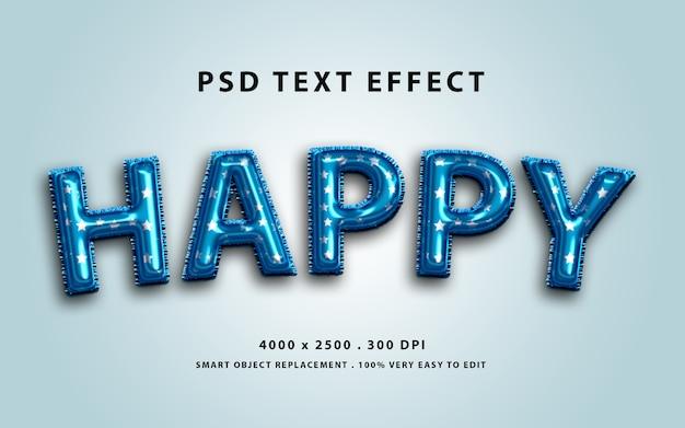 Efeito de texto editável - folha de balão azul