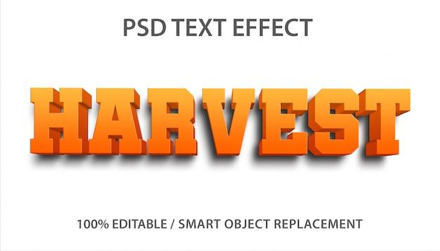 Efeito de texto editável harvest premium