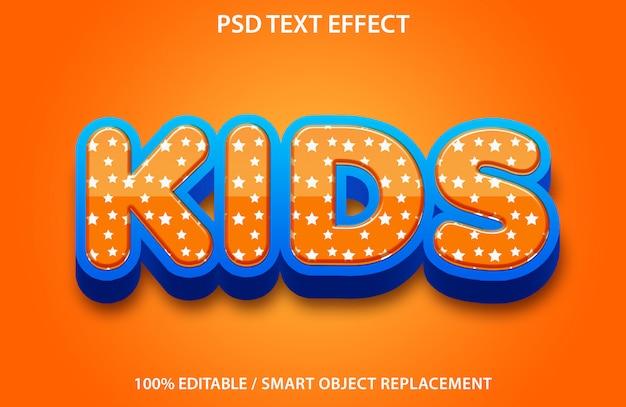 Efeito de texto editável kids premium