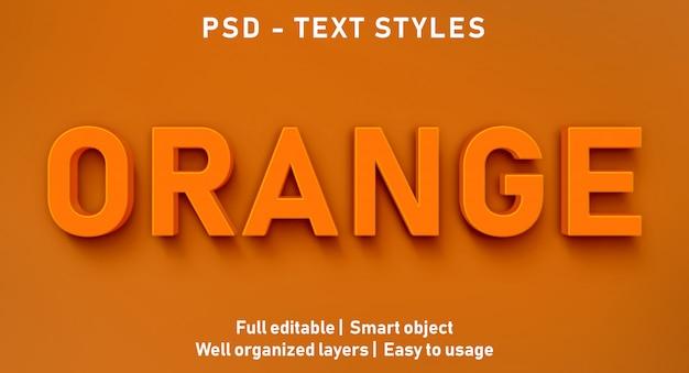 Efeito de texto editável laranja