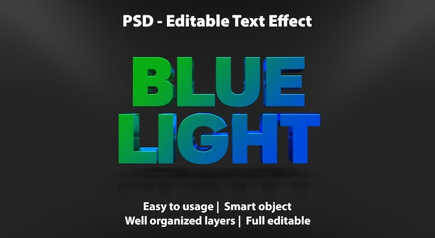 Efeito de texto editável - luz azul