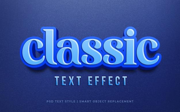 Efeito de texto editável, maquete de estilo clássico moderno 3d texto azul