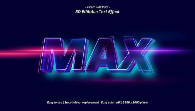 Efeito de texto editável máximo em 3d Psd Premium