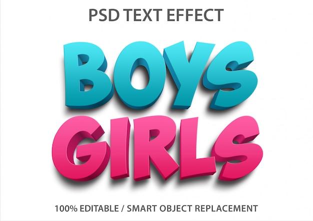 Efeito de texto editável meninos e meninas