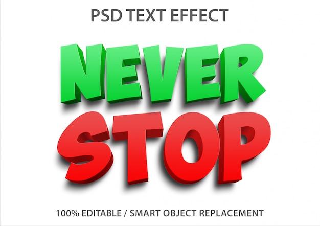 Efeito de texto editável nunca para