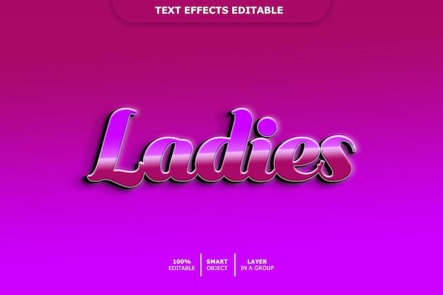 Efeito de texto editável para senhoras