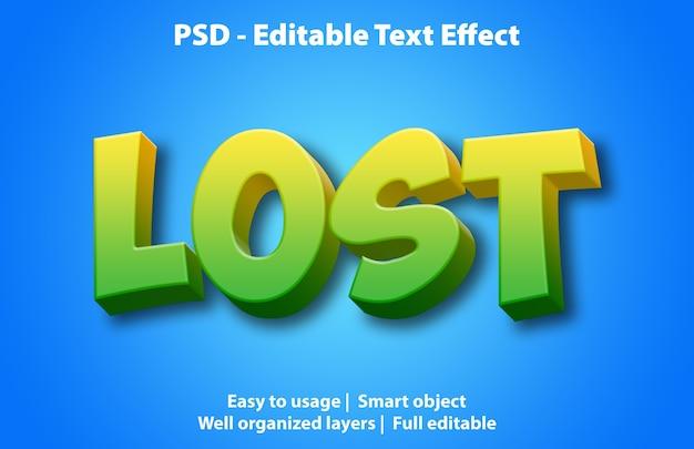 Efeito de texto editável perdido
