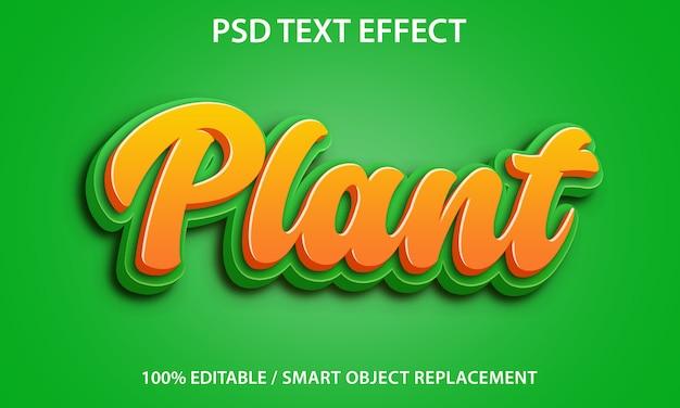Efeito de texto editável planta premium