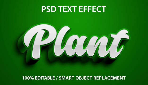 Efeito de texto editável planta verde