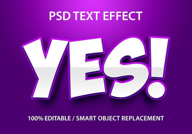 Efeito de texto editável roxo sim premium
