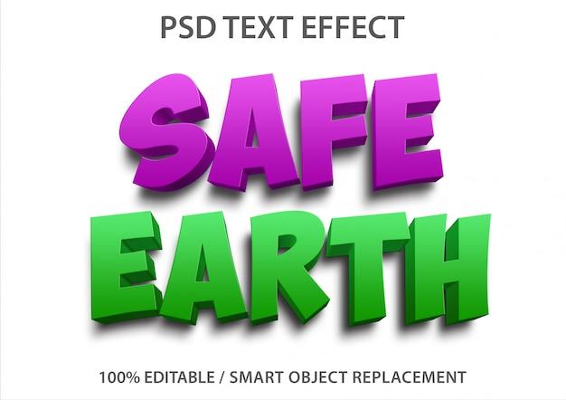 Efeito de texto editável safe earth