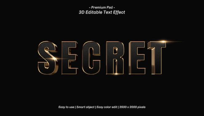 Efeito de texto editável secreto 3d