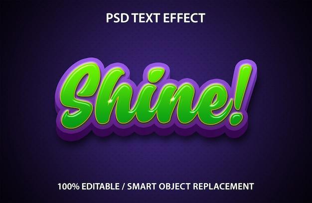 Efeito de texto editável shine premium