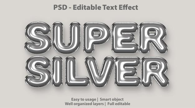 Efeito de texto editável super prateado