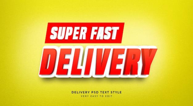 Efeito de texto editável, título de entrega super rápida, maquete de estilo de texto 3d amarela