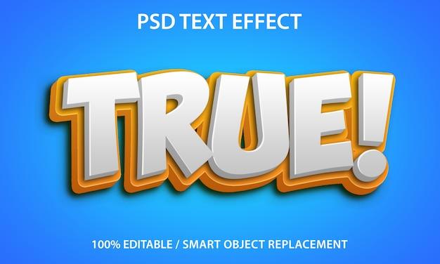 Efeito de texto editável true premium