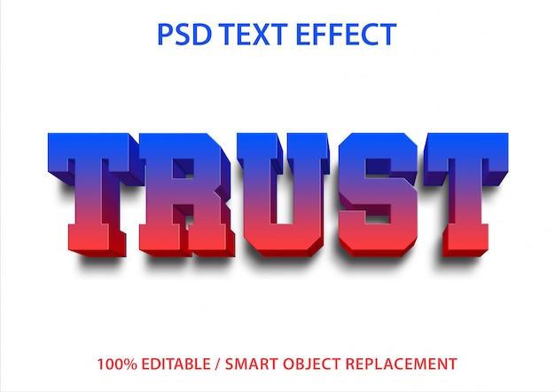 Efeito de texto editável trust premium